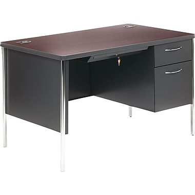 HON® Mentor Single Pedestal Desk, 29 1/2in.H x 48in.W x 30in.D, Mahogany Top/Charcoal Base