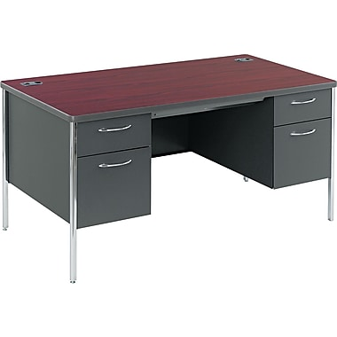 HON® Mentor Single Pedestal Desk, 29 1/2in.H x 60in.W x 30in.D, Mahogany Top/Charcoal Base
