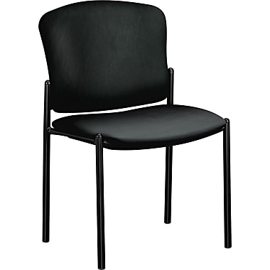 HON ® Pagoda 4070 Series Stacking Chairs Vinyl Guest, Black