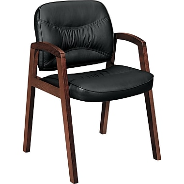 basyx® VL803 Series Leather Guest Chair Leather Guest Black, Mahogany