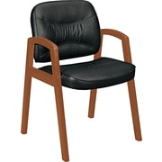 basyx® VL803 Series Leather Guest Chair Leather Guest Black, Bourbon Cherry