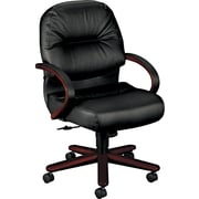 HON® HON2192NSR11 Pillow-Soft® Leather Mid-Back Office Chair with Fixed Arms, Black/Mahogany