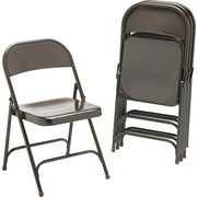 Virco® Metal Folding Chair, Mocha, 4/pack