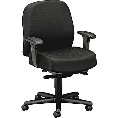 HON ® Pyramid 3500 Mid-Back Fabric Task Chair With Adjustable Arms, Black