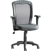Alera Mid-Back Leather Manager's Chair, Fixed Arm, Black