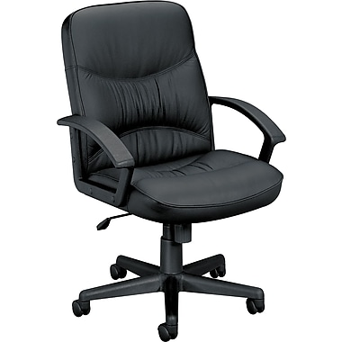 Basyx™ by HON® VL640 Mid-Back Leather Managerial Chair, Black