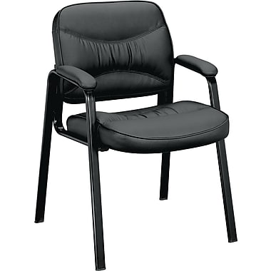 Basyx by HON ® VL640 Standard Base Leather Guest Chair, Black