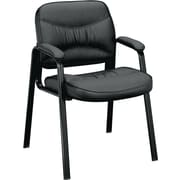 basyx by HON® VL643 Leather Guest Chair, Black SofThread Leather (BSXVL643ST11)