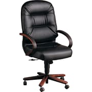 HON® HON2191NSR11 Pillow-Soft® Leather Executive High-Back Chair with Fixed Arms, Black/Mahogany