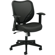 basyx by HON® BSXVL551VB10 VL551 Fabric Mesh Back Mid-Back Office Chair with Adjustable Arms, Black