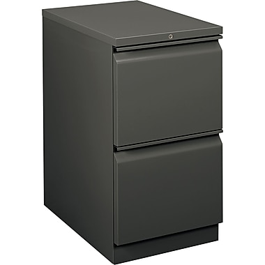 HON  Flagship  22 7/8in.D 2 Drawer Mobile File/File Pedestal, Charcoal, Full Radius Drawer Pull
