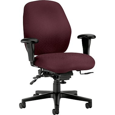 HON Mid-Back Tectonic Polyester Task Chair, Adjustable Arms, Wine
