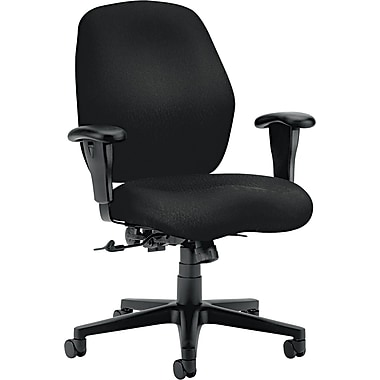 HON® HON7823NT10T 7800 Series Fabric Mid-Back Office Chair with Adjustable Arms, Black