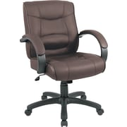 Alera Chocolate Brown Mid-Back Leather Executive Chair, Fixed Arms