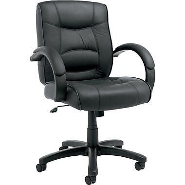 Alera™ Strada Mid-Back Executive Chair With Leather Upholstery, Black