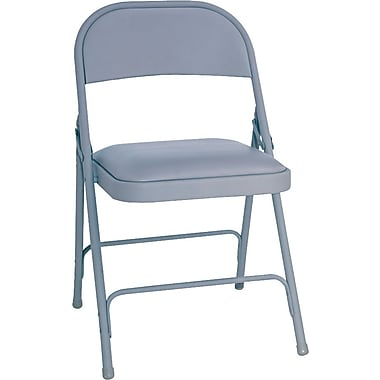 Alera™ Steel Folding Chair With Vinyl Padded Seat, Gray