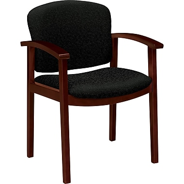 Invitation® HON® 2111 Wood Guest Chair With Arms, Mahogany/Raven