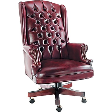 Alera Burgundy High-Back Vinyl Manager's Chair, Fixed Arms