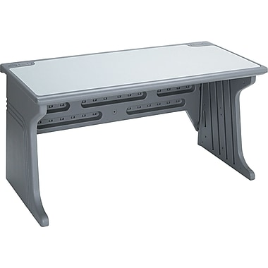 Iceberg® Aspira™ Modular Workstation Desk, 30in.H x 60in.W x 28in.D, Granite/Charcoal Frame