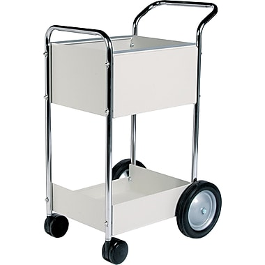 FELLOWES® 39in.H x 20in.W x 25 1/2in.D Steel Mail Cart, Dove Gray
