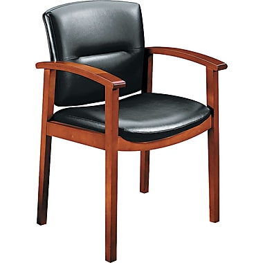 HON ® Park Avenue Collection ® Hardwood and Leather Guest Chair, Cherry/Black
