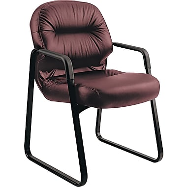 HON® Pillow-Soft® Leather Guest Chair, Burgundy (HON2093SR69T)