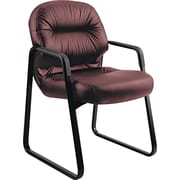 Pillow-Soft® HON® 2090 Leather Sled-Based Guest Arm Chair, Burgundy