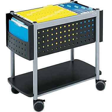 Safco® Scoot™ Mobile File Cart Metal Mobile File, Black/Silver