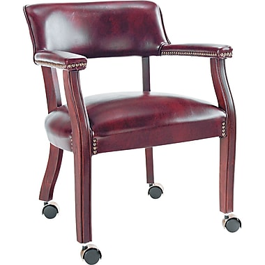 Alera™ Traditional Vinyl Guest Chair With Arm And Casters, Burgundy