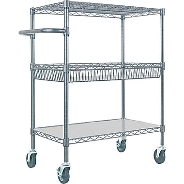 Alera™ 18in.D Three Tier Wire Rolling Cart, Black Anthracite