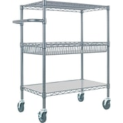 "Alera™ 18""D Three Tier Wire Rolling Cart, Black Anthracite"