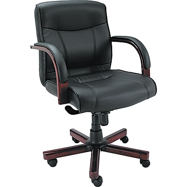 Alera Madaris Mid-Back Leather Manager's Chair, Fixed Arms, Black