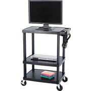 Safco® Plastic Media Carts Plastic, Black, 3 shelves