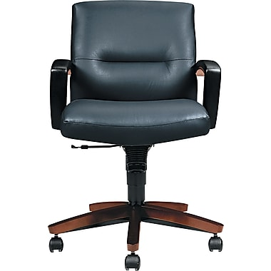 HON ® Park Avenue Collection 5000 Series Leather, Vinyl Management, Black