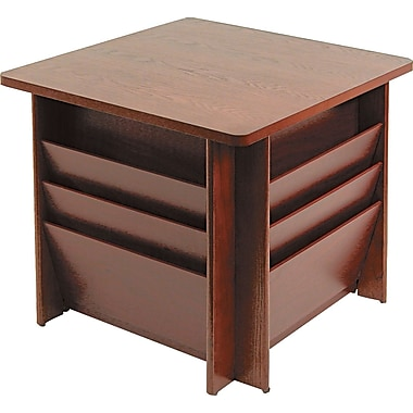 Buddy Products Wood Reception Table with Literature Rack, Mahogany