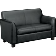 basyx by HON® VL872 Tailored Two-Cushion Loveseat, Black SofThread™ Leather (BSXVL872ST11)