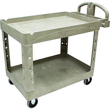 Rubbermaid ® 33 1/4in.H x 25 7/8in.W x 45 1/4in.D Two Shelf Service Cart, Beige