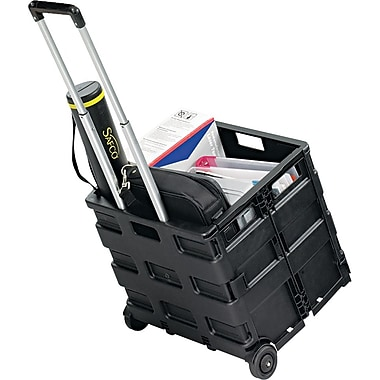 Safco ® STOW AWAY ® 18in.H x 16 1/2in.W x 3 1/2in.D Folding Caddy, Black