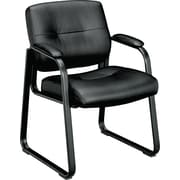 basyx by HON® VL693 Leather Sled Base Guest Chair, Black SofThread Leather (BSXVL693SP11)