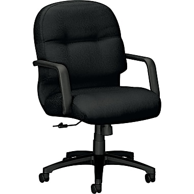 HON Mid-Back Fabric Task Chair, Fixed Arm, Black