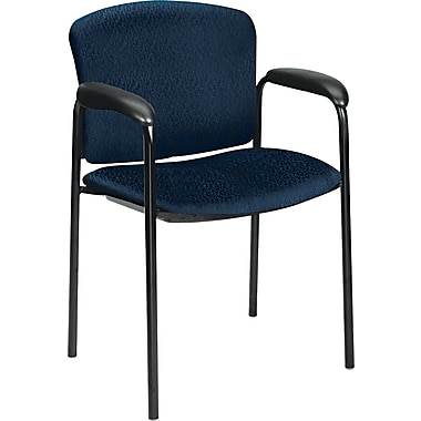 HON® Tiempo® Leg Base Fabric Chair with Arms Without Casters, Blue