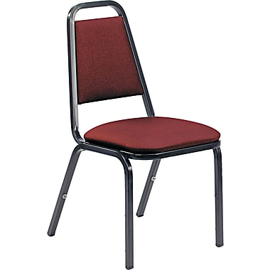 Vicro 48926E38D8 Vinyl Stack Chair, Black/Wine