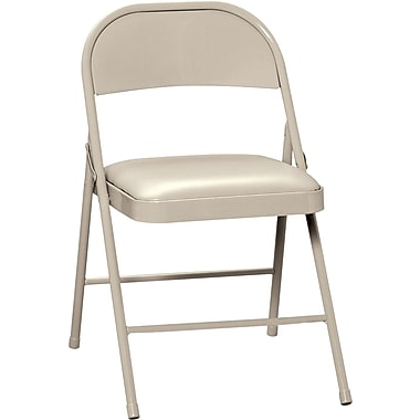HON® Steel Folding Chair With Vinyl Padded Seat, Beige