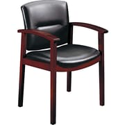 HON ® Park Avenue Collection ® Hardwood and Vinyl Guest Chair, Mahogany/Black