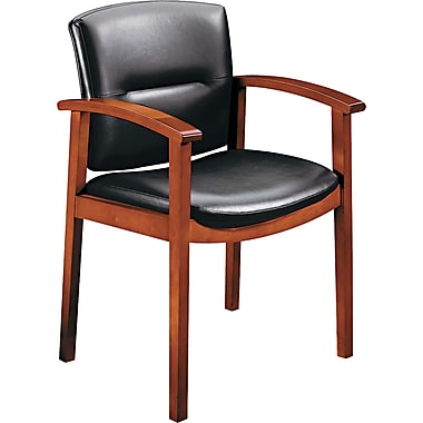 HON ® Park Avenue Collection ® Hardwood and Vinyl Guest Chair, Cherry/Black