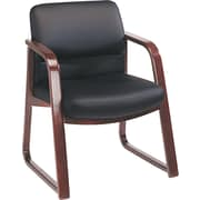 HON® 2900 Series Vinyl Sled Base Guest Chair, Black/Mahogany (HON2903NEE11)