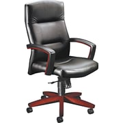 HON® HON5001NSS11 Park Avenue Collection® Leather Executive High-Back Chair with Fixed Arms, Black/Mahogany