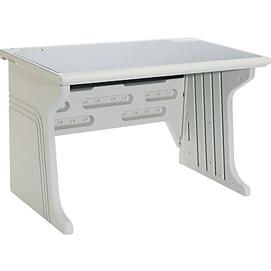 Iceberg® Aspira™ Modular Workstation Desk, 30in.H x 48in.W x 28in.D, Granite/Platinum Frame
