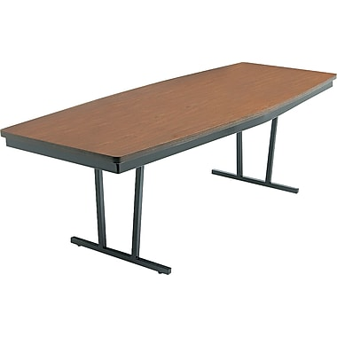 Barricks® Economy Conference Folding Table, Walnut/Black, 30in.H x 96in.W x 36in.D