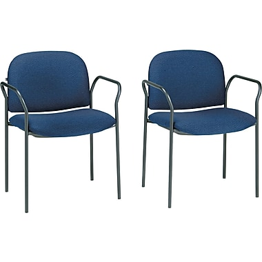 HON® Multipurpose Stacking Arm Chair, 100% Olefin Guest, Blue